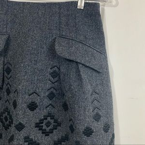 Nanette Lapore wool blend embroidered skirt